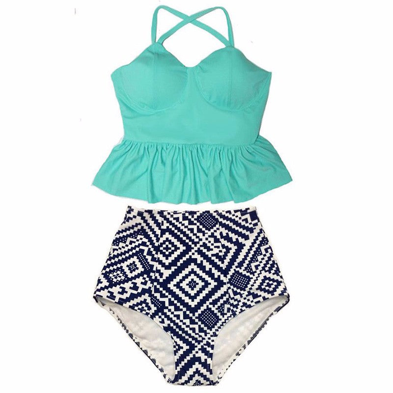 Sage Peplum Top High Waisted Bikini, High Waisted Peplum Top Bikini Swimsuit - Tropic Dreams