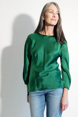 bright emerald green silk satin ladies top womens long sleeve blouse washable silk