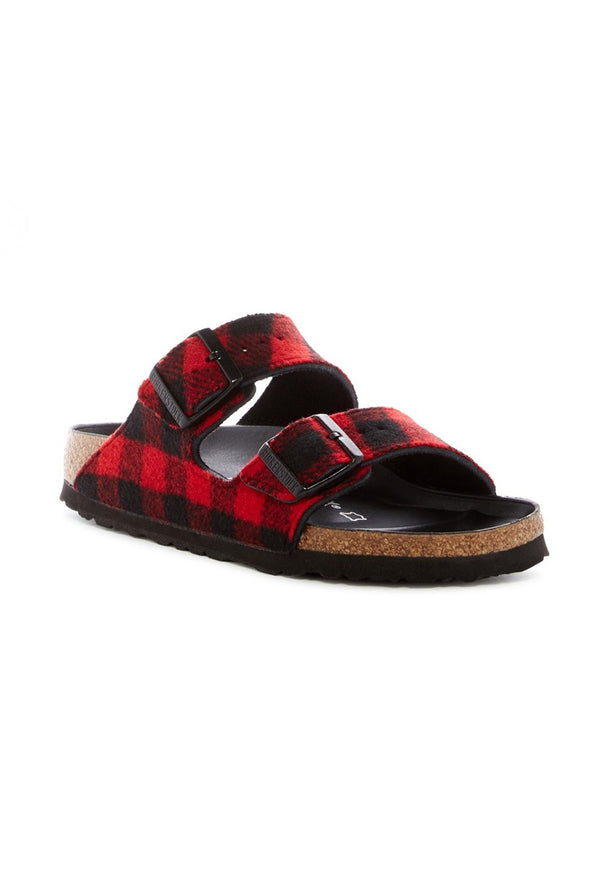birkenstock arizona red/black tartan