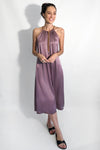 rose pink silk satin mid length evening party dress