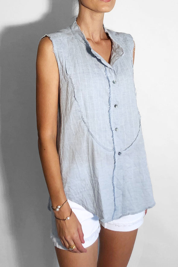 light blue chambray cotton sleeveless button up shirt