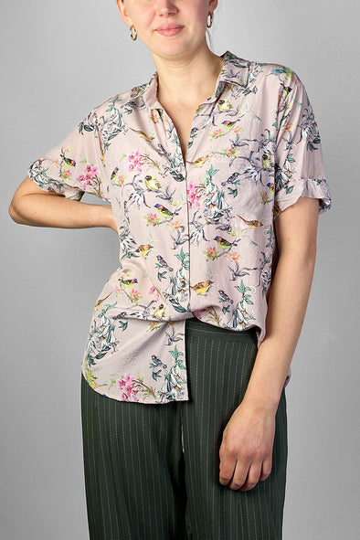 bird print silk shirt