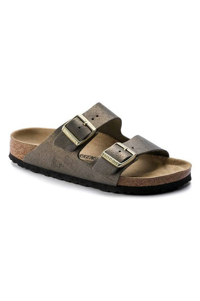 birkenstock arizona washed metallic stone gold narrow