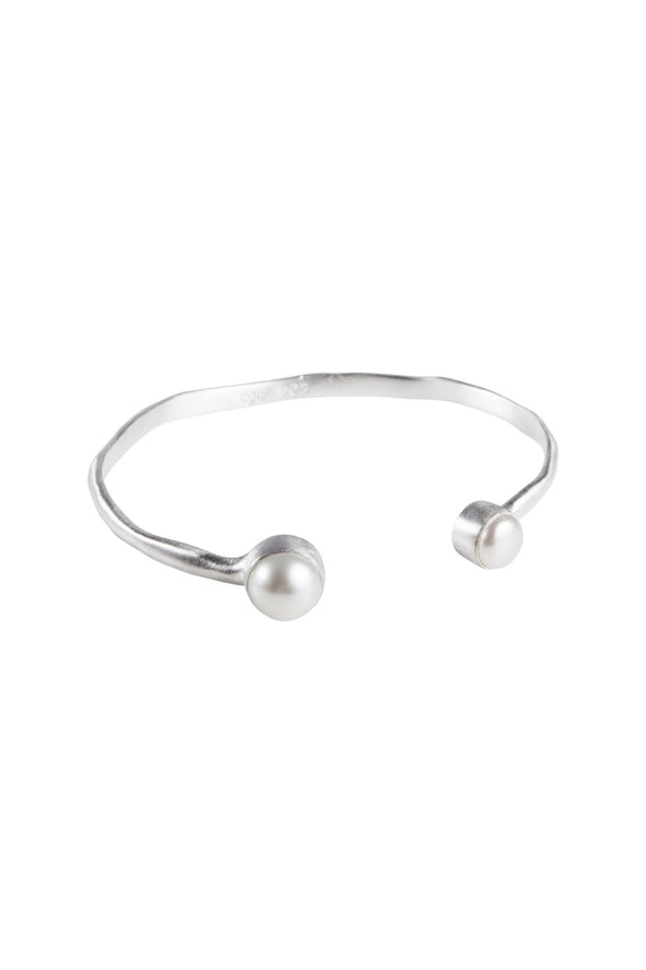 brushed sterling silver double pearl cuff