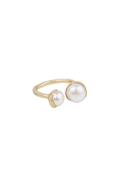 fairley double pearl gold ring