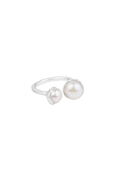 sterling silver ring with two freshwater pearls