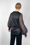 black silk top with long sheer sleeves