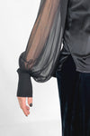 sheer silk georgette sleeve black satin top