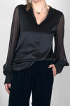 black silk satin v neck top ethically made in australia