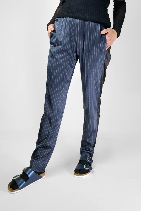 navy silk satin pinstripe pants trousers washable no drycleaning