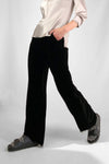 black silk velvet elastic long pants
