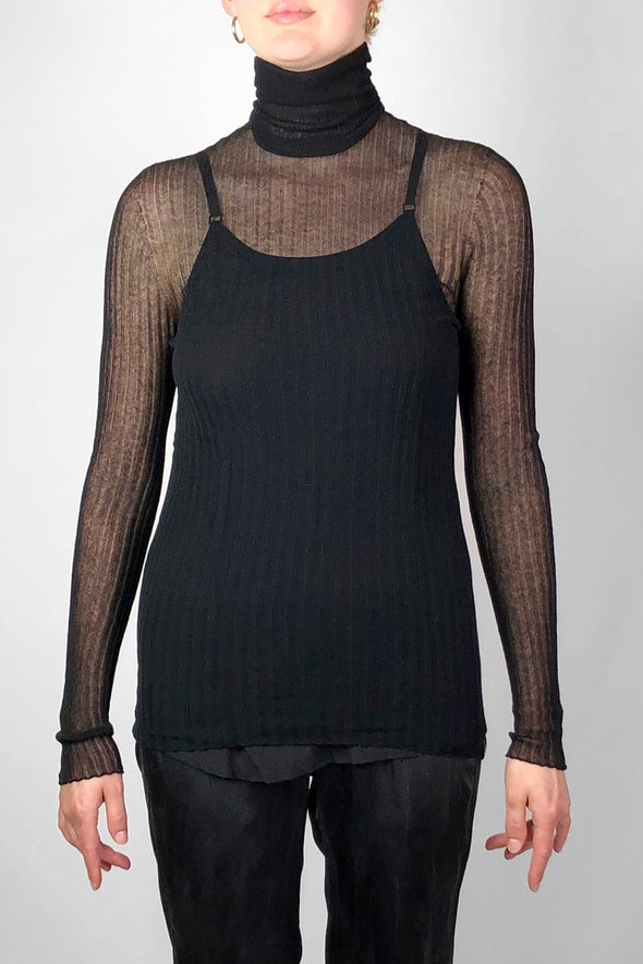 sheer black cotton turtleneck ethically mad