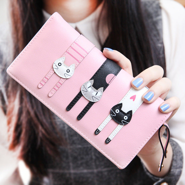 Women Cat Long Wallet