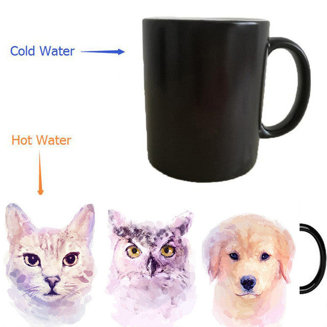 Animals mugs heat changing color