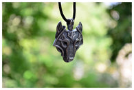 NORSE WOLF HEAD STERLING SILVER PLATED NECKLACE FOR MEN