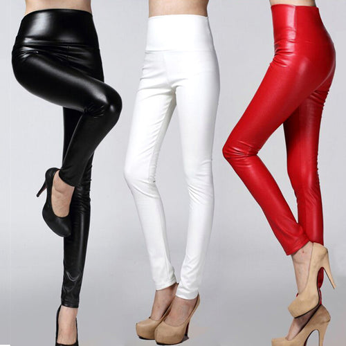 Skinny PU leather pencil Leggings slim faux Leather Pants female fashion thick fleece trousers