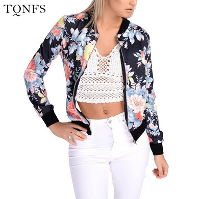 Basic Bomber Jacket women Floral Slim Casual Business Jacket Women Coat Top Outwear Camperas Mujer Abrigo