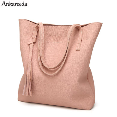 Ankareeda Women's Soft Leather Handbag High Quality Women Shoulder Bag Luxury Brand Tassel Bucket Bag Fashion Women's Handbags