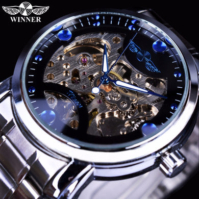Winner Blue Ocean Fashion Casual Designer Stainless Steel  Skeleton Men's Watches