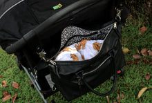 Leather Nappy Bag on pram