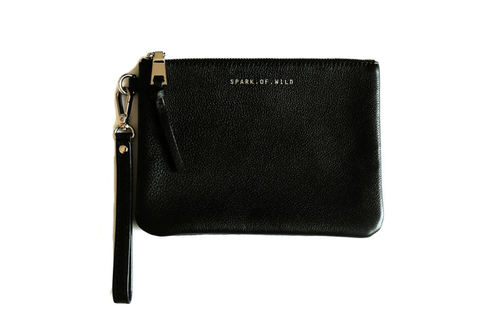 Isla Leather Clutch - Black