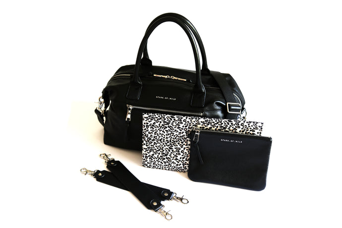 Stylish Leather Nappy Bag Black