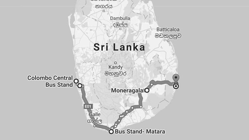 Map from Colombo to Arugam Bay