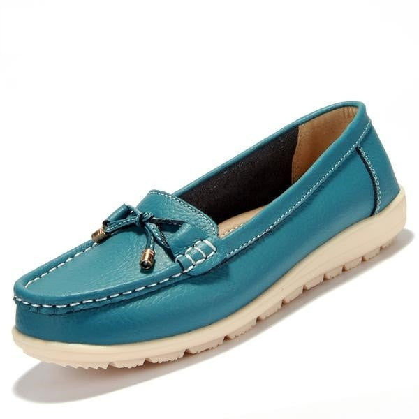 Summer genuine leather women flats shoes - GrandTrends