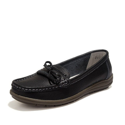 Leather Women Shoes Loafers Slip - GrandTrends