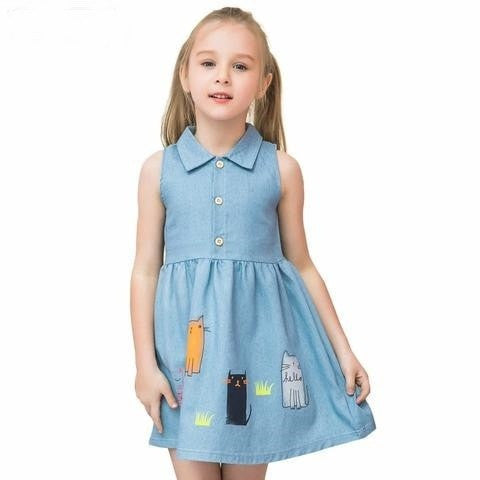 Summer Cotton Cat Girls Dresses - GrandTrends
