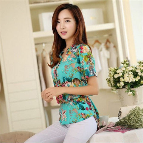 Summer Printed Short sleeve Women shirts - GrandTrends