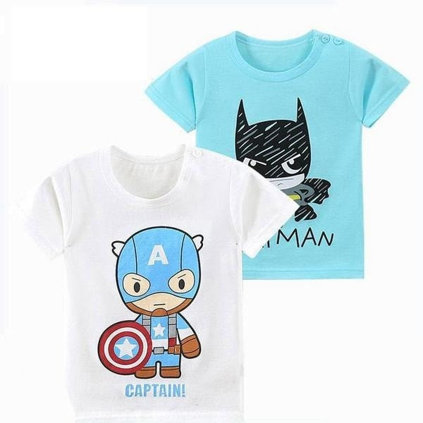 MUABABY 2017 1-6T Summer Baby T-shirts Boys Girls Cartoon Short Sleeve Cotton Batman Tops Tees Kids Casual Clothing for Children - GrandTrends