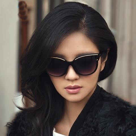 Women Fashion Cat Eye  Flat Sunglasses - GrandTrends