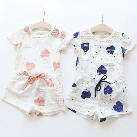 Girls Summer Heart Printed Clothes - GrandTrends
