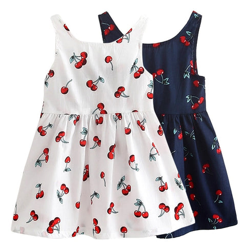 Cherry Design Girls Sleeveless Dress - GrandTrends