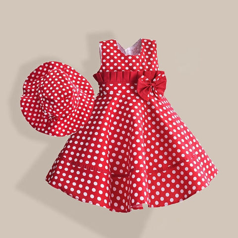 Baby Girl Dress with Hat Red Dot Fashion - GrandTrends