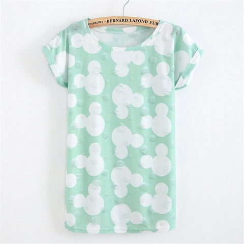 Summer Fashion Hole T-shirt Micky Mouse Print - GrandTrends