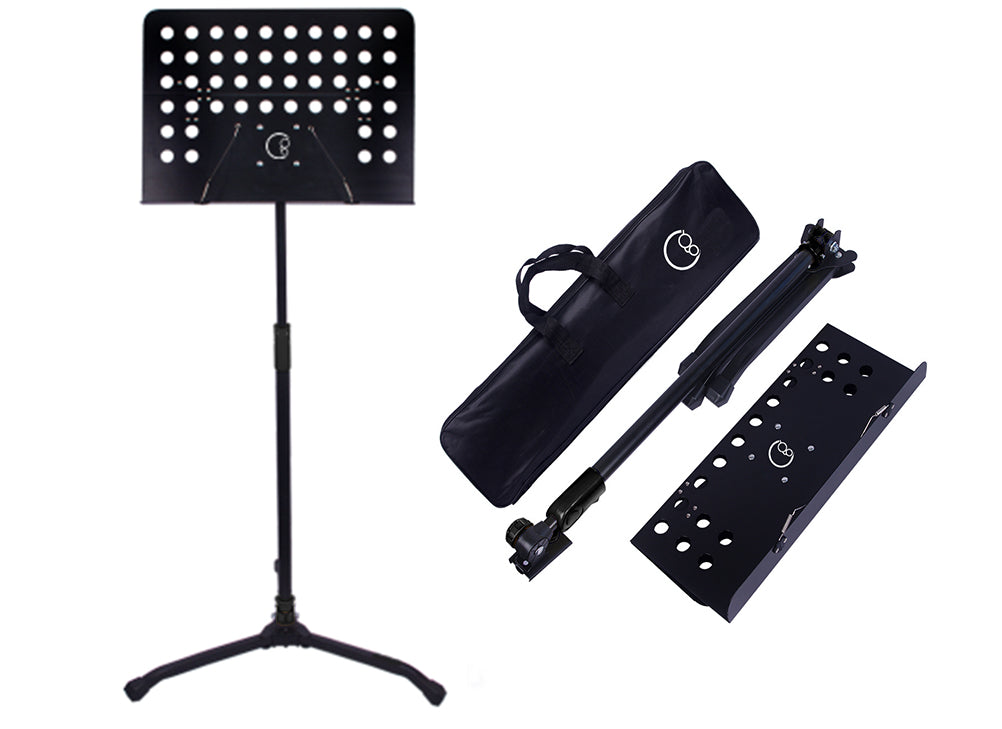 Crafty Gizmos Deluxe Adjustable Folding Music Stand with Carrying Bag (Black)