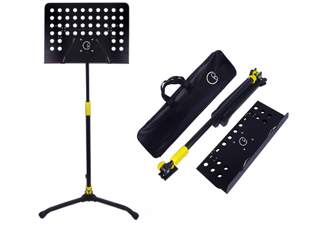 Crafty Gizmos Deluxe Adjustable Folding Music Stand with Carrying Bag (Yellow)