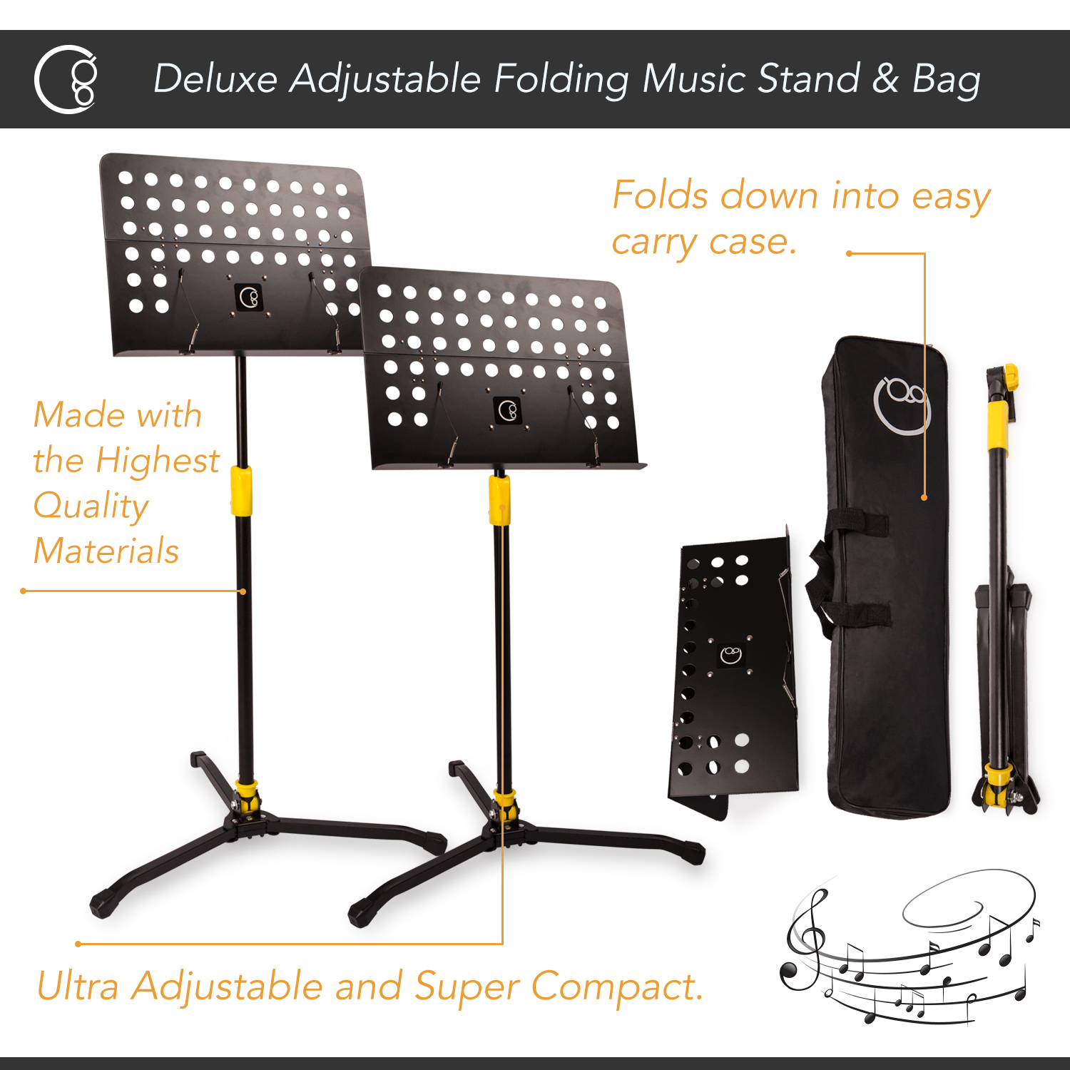 Deluxe Adjustable Folding Music Stand with Carrying Bag (Black)