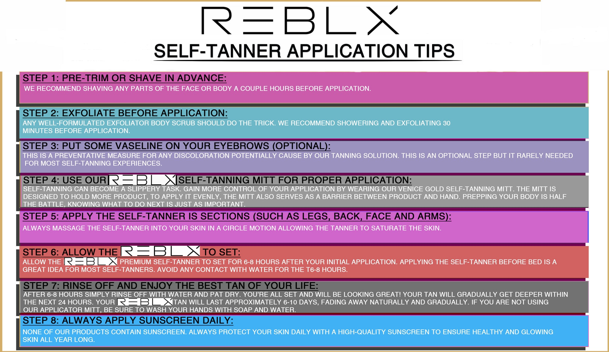 REBLX Self-Tanner Application Tips