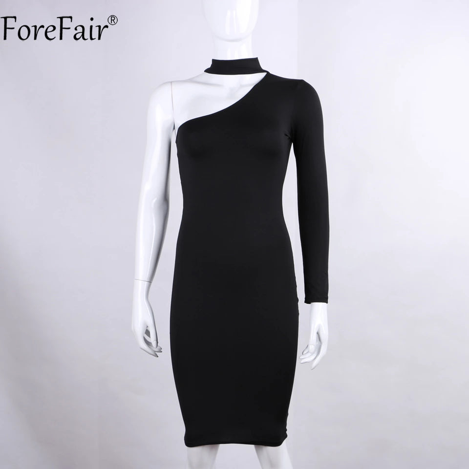 85a8ec92ff4 ... Sexy One Shoulder Club Party Fitted Halter Pencil Dress ...