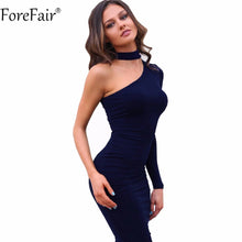 Sexy One Shoulder Club Party Fitted Halter Pencil Dress