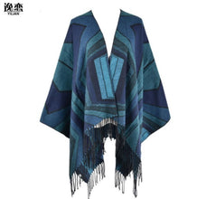 Diamond Patterns With Tassel Shawl Poncho Cape Wrap