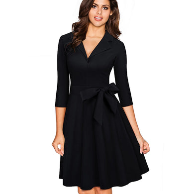 V Collar A-Line Pinup Business Dress