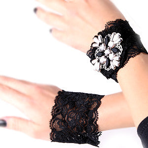 Black Wrist Cuff Lace Bead