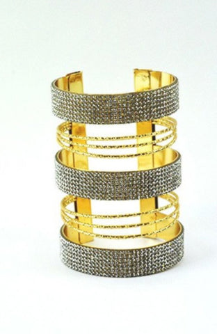 CRYSTAL LINED STRIPED CUFF BRACELET