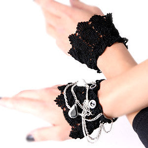 Wrist Cuff Cloth Chain Charms Black