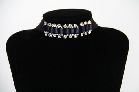 Faux Leather Crystal beaded Choker