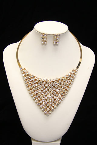 Rhinestone Cuff Necklace Set